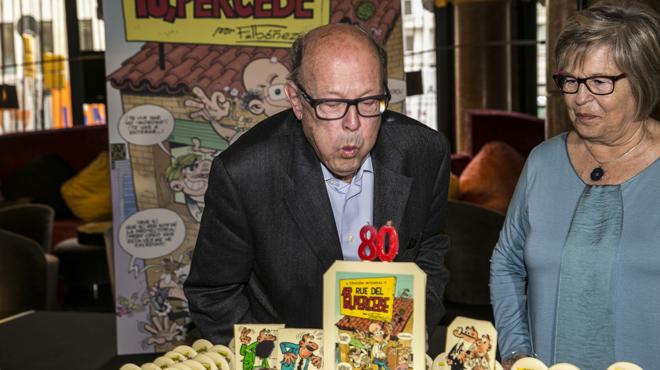 Ibañez celebra sus 80 años y presenta su nuevo libro la edición integral de 13, rue de Percebe.
