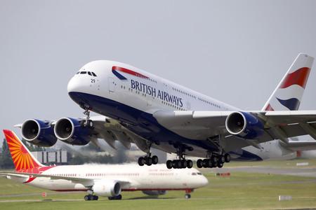 Un Airbus modelo A380 de British Airways, en Le Bourget (París).