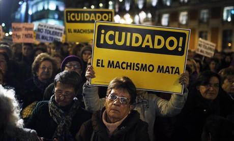 Protesta contra la violencia machista en Madrid.