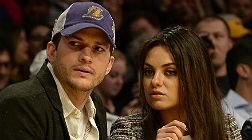 Ashton Kutcher y Mila Kunis, el pasado marzo, durante un partido de los Lakers.