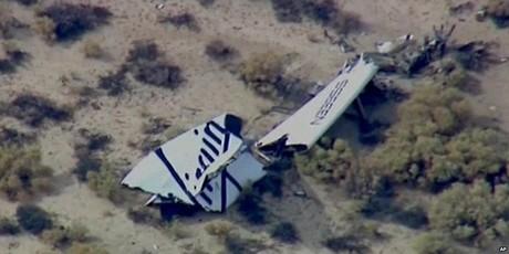 Restos de la aeronave accidentada en el desierto de Mojave, en California (EEUU).
