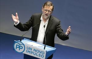 Mariano Rajoy interviene en la clausura del congreso provincial del PP de Pontevedra.
