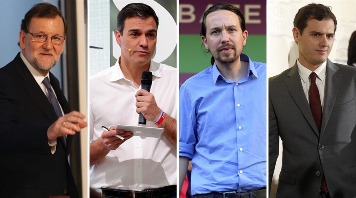 Los candidatos del 26-J Mariano Rajoy, Pedro Sánchez, Pablo Iglesias y Albert Rivera.