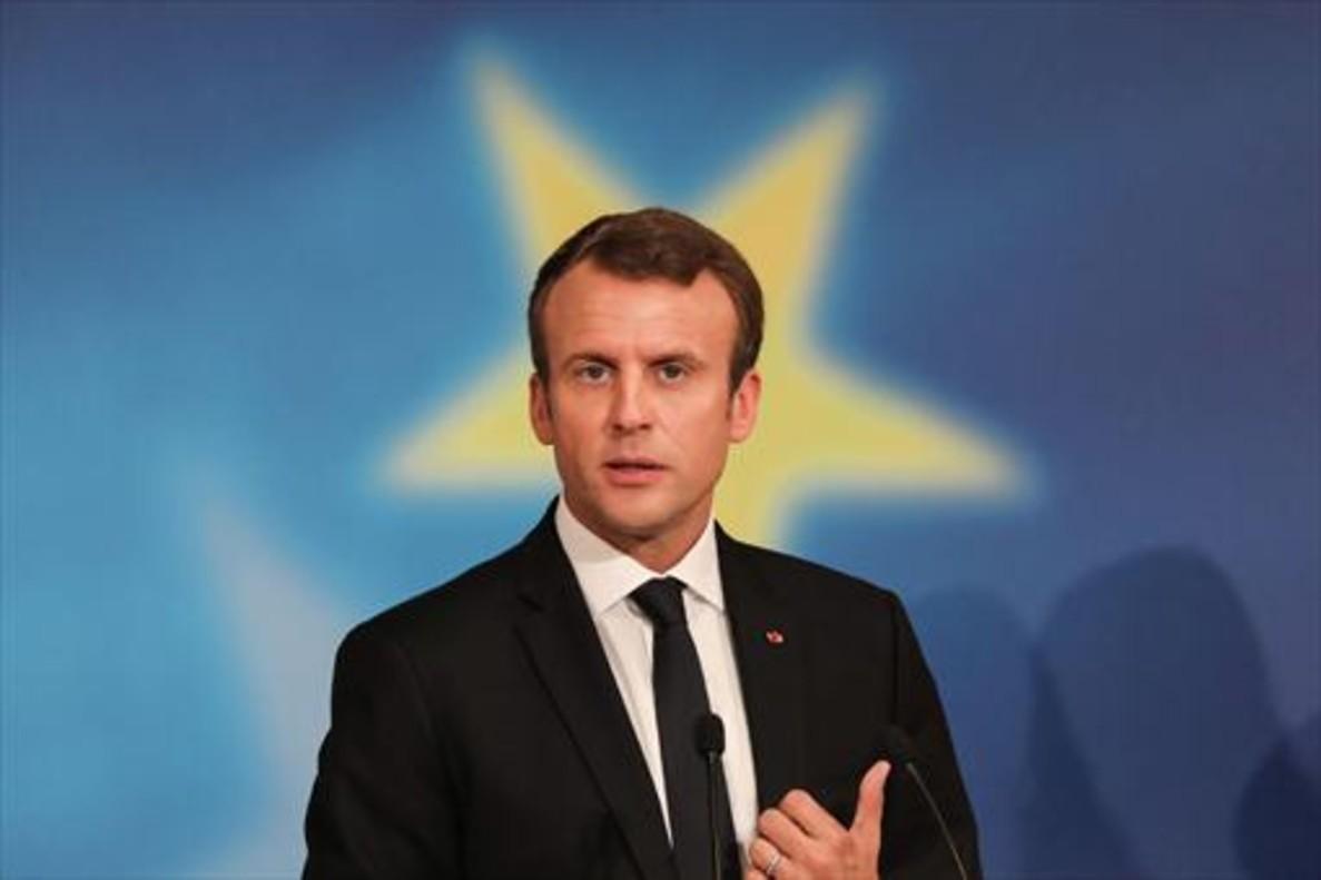 Macron, durante un discurso en la Sorbona de París.