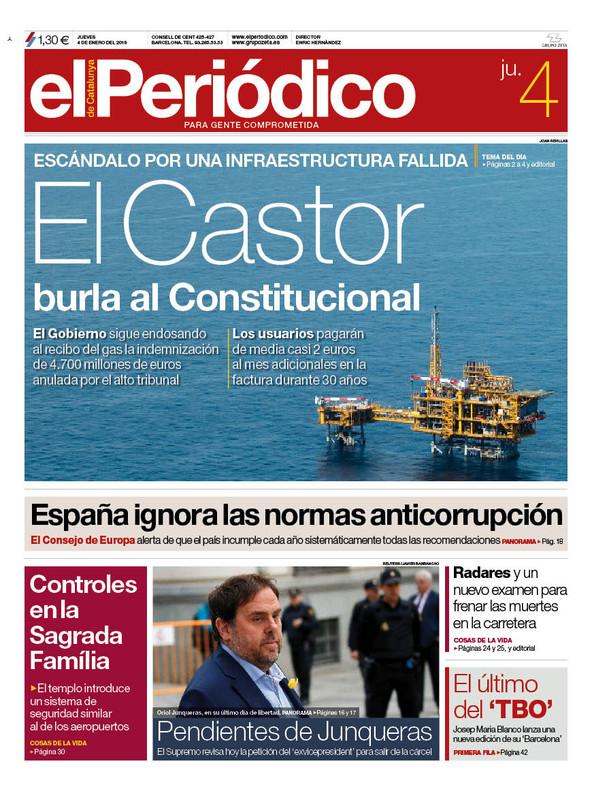 La portada de EL PERIÓDICO del 4 de enero del 2018