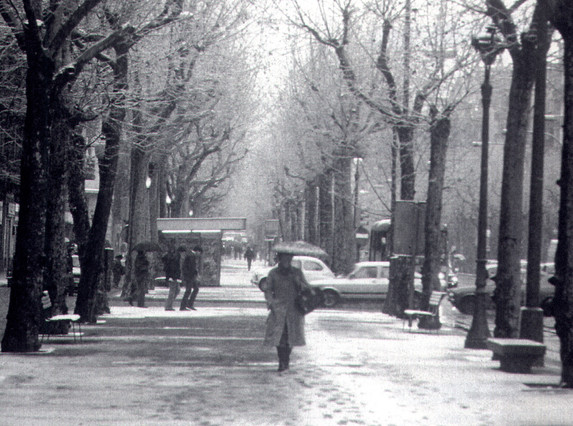 Una gélida imagen de la avenida Diagonal.