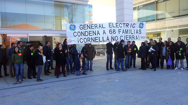 Los trabajadores de General Electric, en una manifestaci�n en Madrid el pasado mes de mayo.