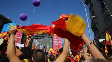 Un momento durante los discursos al final de la marcha