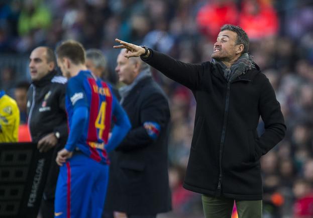 Luis Enrique, duante el partido ante Las Palmas.
