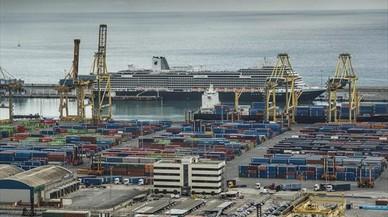 Vista parcial de la terminal de contenedores del puerto de Barcelona.