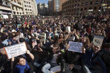 Concentració d'estudiants a València, aquest dimarts.