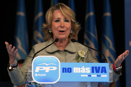 Esperanza Aguirre en campaa contra la subida del IVA de 2010