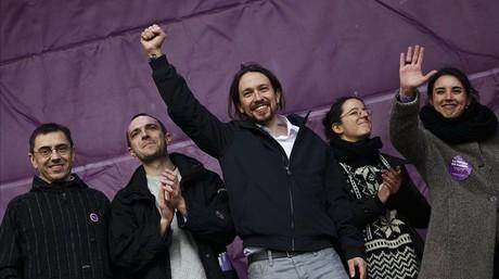 El l�der de Podemos, Pablo Iglesias, tras el mitin pronunciado el pasado domingo en la Puerta del Sol.