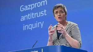 Vestager, en la rueda de prensa sobre Gazprom, este miércoles en Bruselas.