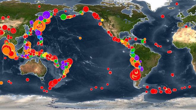 Timelapse de todos los terremotos de los primeros 15 años de este siglo