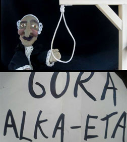 """Detenidos dos titiriteros por una obra del Carnaval de Madrid con un cartel de """"Gora ETA"""""""