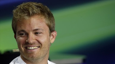 Nico Rosberg, en la conferencia de prensa de ayer en Budapest.