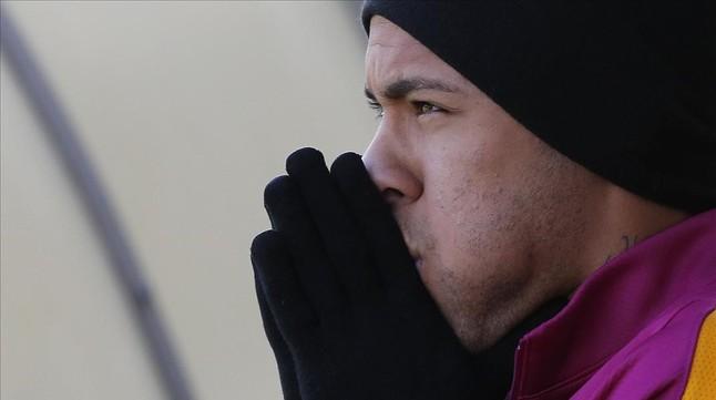 Neymar en el entrenamiento previo al viaje a Gijón