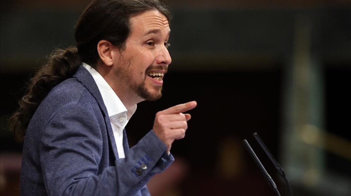 Pablo Iglesias, durante el debate de la moción de censura.