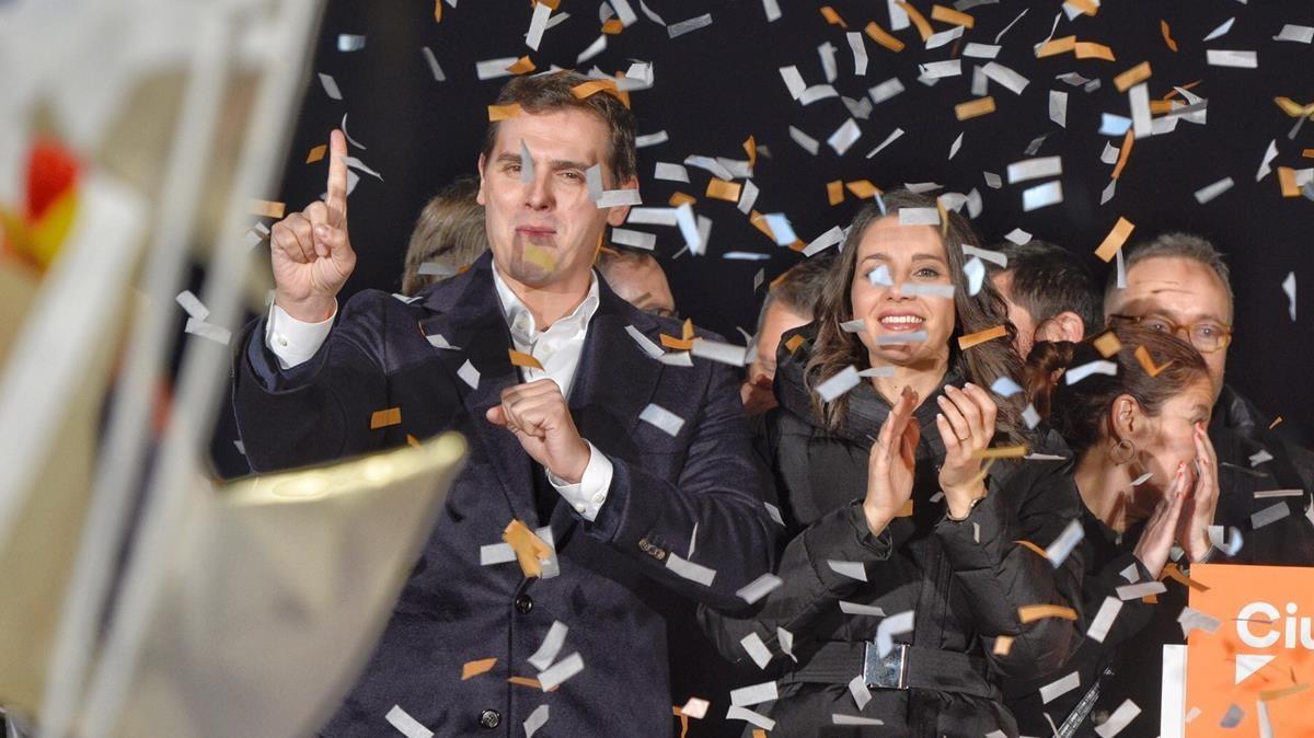 Albert Rivera y Inés Arrimadas celebran el resultado de Ciutadans.