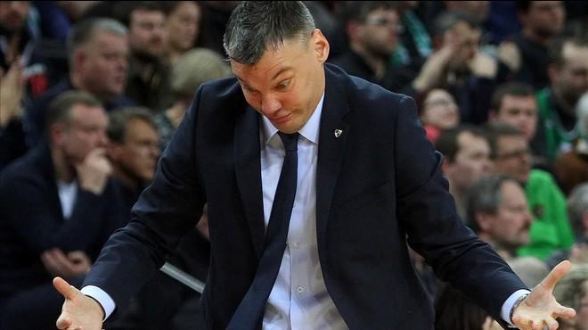 Jasikevicius, la semana pasada, dirigiendo al Zalgiris en la derrota ante el CSKA: