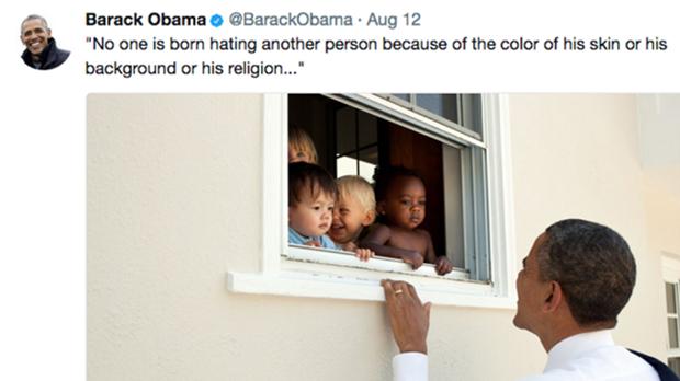 El tuit de Obama sobre Charlottesville bate el récord de 'me gusta''