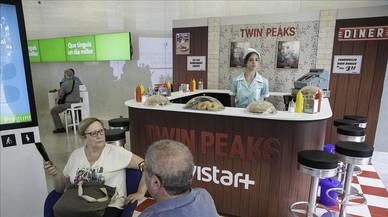 La reproducción del RR Diner de 'Twin Peaks' en la tienda Movistar de Barcelona