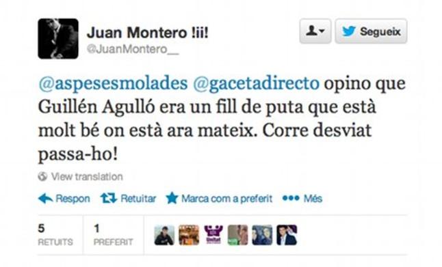 Twitter suspende el perfil del regidor de PxC que insultaba al independentista asesinado Guillem Agull�