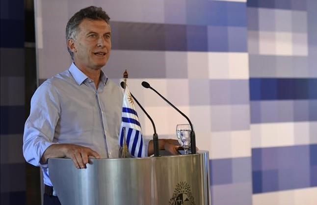 Macri, durante una visita a Uruguay, el jueves.