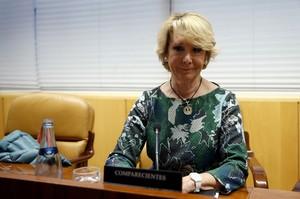 Esperanza Aguirre, durante su comparecencia el pasado 12 de febrero en la comisión de corrupción de la Asamblea de Madrid.