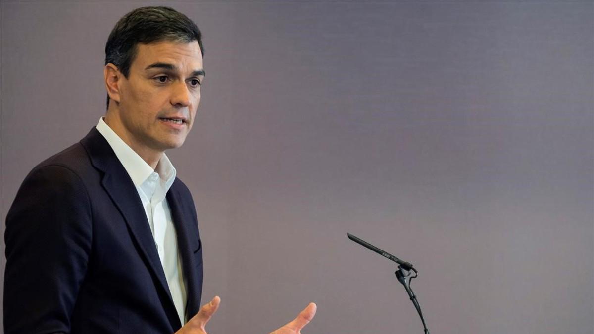 Declaración de Pedro Sánchez en la sede de su partido