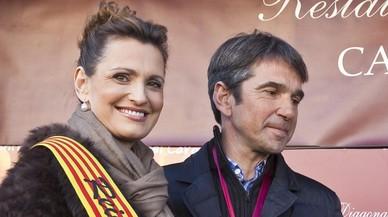 Ainhoa Arteta y Jes�s Garmendia, en la Festa del Cargol del restaurante Can Soteras, en febrero del 2012.