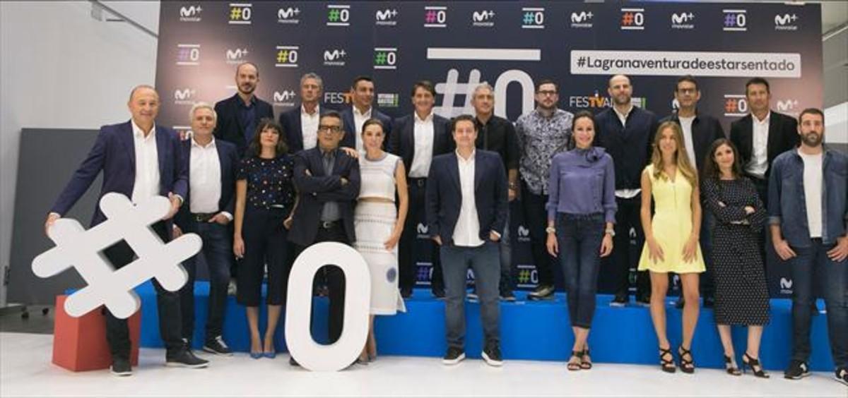 Los profesionales del canal #0 de Movistar+ para la temporada 2016-2017 posa en el Festival de Televisi�n de Vitoria.