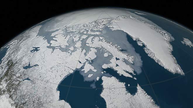 Evolución gráfica del hielo del Ártico en el máximo invernal