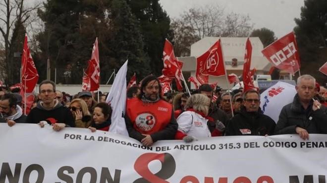 Manifestacion de apoyo a los 8 sindicalistas de Airbus en Madrid.