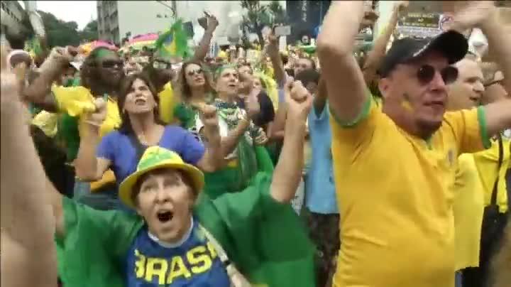 Manifestación de brasileñoscontra el Gobierno de la presidenta Dilma Rousseff.
