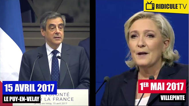 Le Pen plagia part d'un discurs recent de Fillon