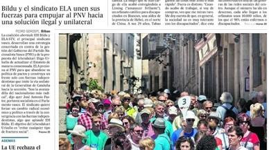 'El País' denuncia una via catalana a Euskadi; 'The New York Times' demana que Catalunya voti