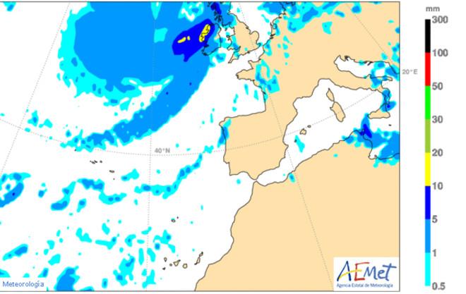Previsión de lluvia para el mediodía del domingo, según el modelo de la Agencia Estatal de Meteorología (Aemet).