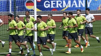 La selección alemana, en un entrenamiento en Evian.