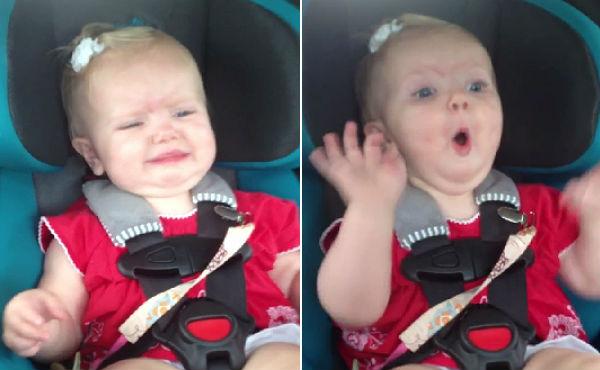 Una nena petita deixa de plorar quan sent a la ràdio Katy Perry