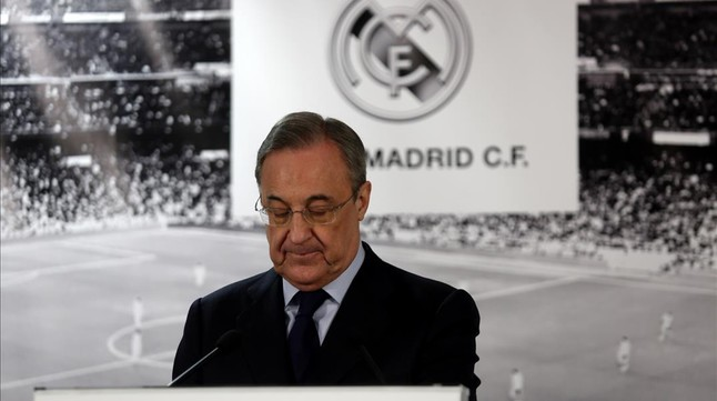 Florentino Pérez, durante una comparecencia ante la prensa
