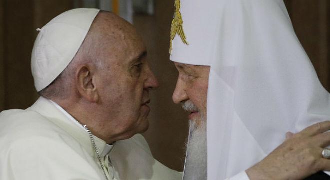 Encuentro entre el papa Francisco y el patriarca ruso en Cuba, el 12 de febrero del 2016.