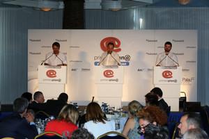 Gabriel Rufián y Xavier Domènech, este miércoles, durante su intervención en el debate Primera Plana.