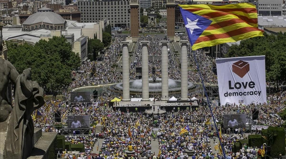 Manifestación en defensa del referéndum de autodeterminación, el pasado 10 de junio.