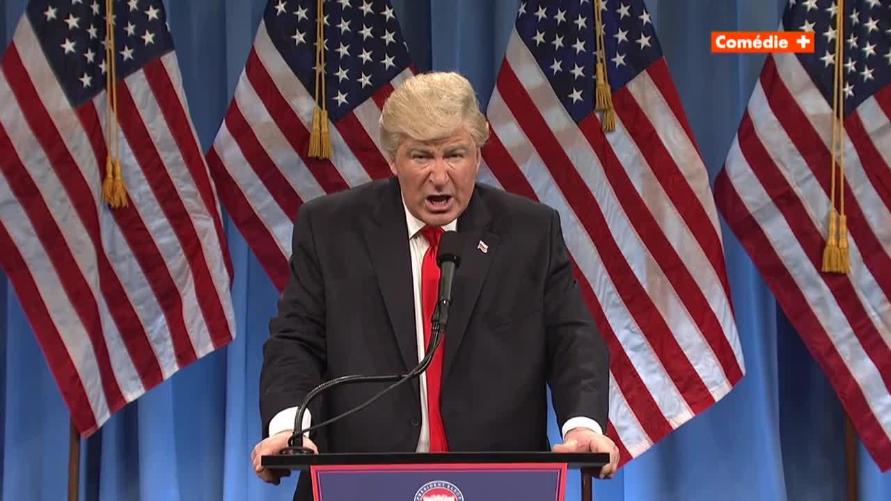 La parodia de Baldwin de la conferencia de prensa de Trump.