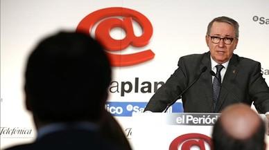 El actual rector de la UB, D�dac Ram�rez, interviene en un desayuno informativo Primera Plana en marzo del 2015.