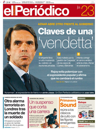&#34;Claves de una 'vendetta'&#34;, en la portada de EL PERIDICO DE CATALUNYA