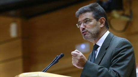 El ministro de Justicia, Rafael Catal�, en una comparecencia en el Senado.