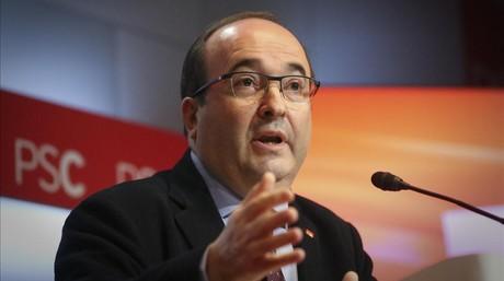 El primer secretario del PSC, Miquel Iceta, en una rueda de prensa.